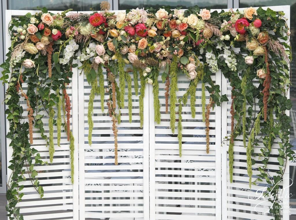 Panou lemn decorat cu flori